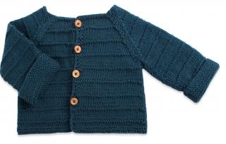gilet-mixte-bleu-canard-tricote-main-avec-rayures-au-point-mousse-en-coton-et-cachemire
