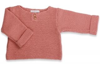 pull-anatole-bebe-enfant-fille-vieux-rose-coton-cachemire-tricote-mains-au-point-mousse
