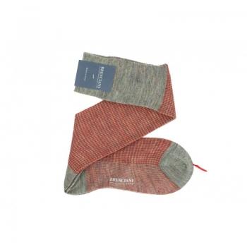 chaussettes-bresciani-laine-pied-de-poule-orange-beige